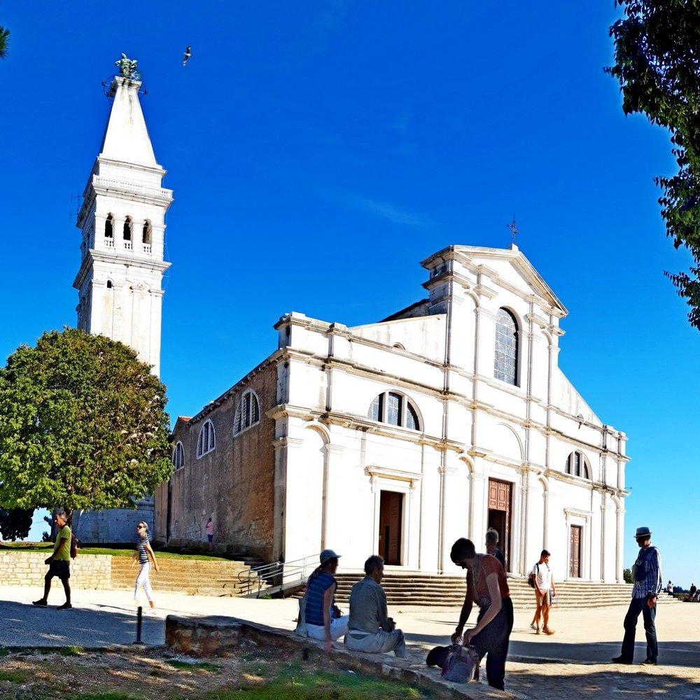 Istria Rovinj peninsula hill with st Euphemia church
